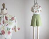 1950s garden print blouse