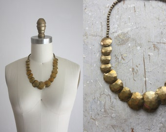 1950s hammered brass necklace