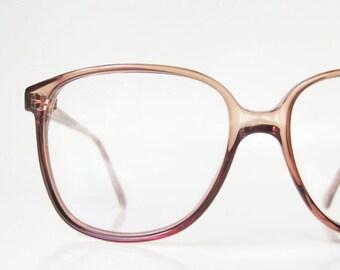 POP SALE 1970s Round Wayfarer Eyeglasses Glasses Light Apricot Tawny Brown Womens Eyeglass Frames Deadstock Authentic NOS New Old Stock