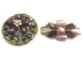 Vintage Gold Tone and Purple Rhinestone Jewelry  Lot, Two Vintage Brooches: Monet and Unmarked, Jewelry Destash, Crafters Lot