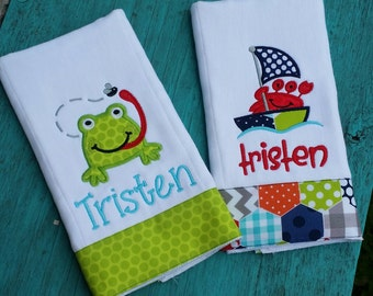 Set of 2 Personalized Burp cloths for boys