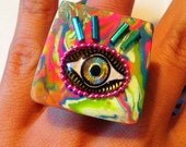 Eye Ring - Evil Eye Ring - Eye Jewelry - Holographic Jewelry - Psychedelic Jewelry - Egyptian Jewelry - Neon - Chunky Ring - Clay Ring