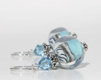 Lampwork Glass Earrings, Sterling Silver Dangle Earrings, Blue Aqua Earrings, Zebra Stripe, Swarovski Crystals, Bali Silver