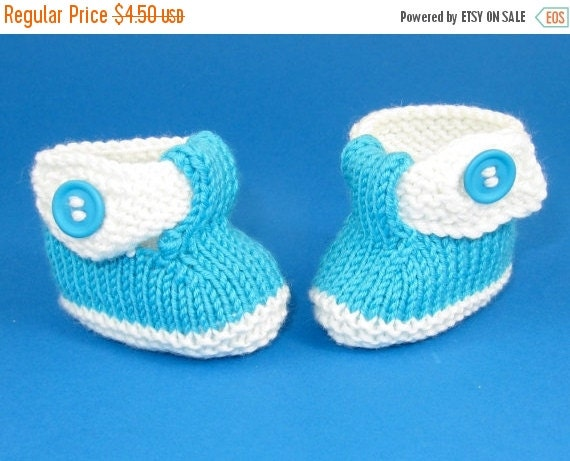 HALF PRICE SALE Instant Digital Pdf File knitting pattern - Baby T Bar 2 Colour Sandals (booties)  pdf download knitting pattern