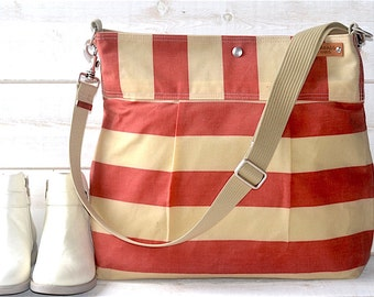 Waxed canvas bag Diaper bag / Messenger bag striped  bag Coral Stockholm  geometric nautical stripes/ Ikabags Featured on Martha Stewart