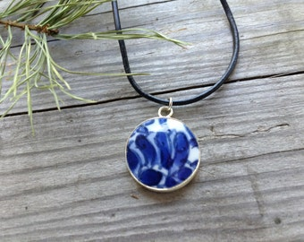 Repurposed Blue China Pendant