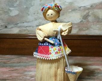 Cornhusk Doll Folk Art with Umbrella and Patchwork skirt Vintage 70s