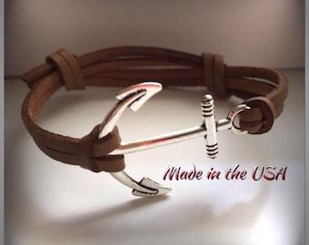 Nautical bracelet Leather anchor bracelet Nautical jewelry Charm bracelet Friendship bracelet Men's bracelet Women's bracelet Anchor