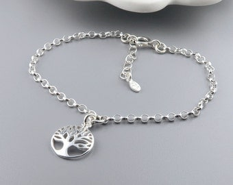 Silver Tree of Life Bracelet, Sterling Silver, Personalized Family Tree Bracelet, Birthstone, mom jewelry, mothers day, grandma jewelry