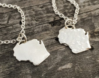 I LOVE WISCONSIN Sterling Silver Necklace Handmade Wild Prairie Silver Jewelry