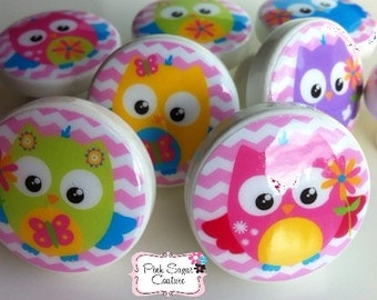 OWL Love Birds CHEVRON PINK knobs Made to Match Kids Nursery Room bedding woodland drawer pulls girls ... so cute