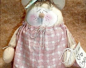 "handmade primitive 7"" teddy bear cloth raggedy stand up doll home decor TANGERINE CREAM new"