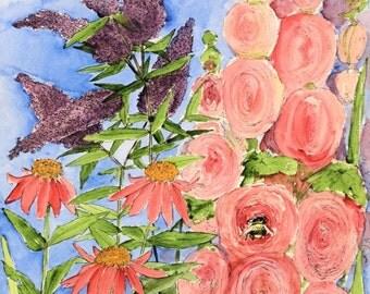 Garden Watercolor Botanical Art Butterfly Bush Holyhock Pink Flowers Bees