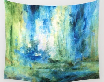 Wall Tapestry Abstract Nature Art Spring Rain Green Blue