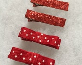 Ready to ship - Red ribbon lined clips