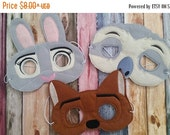 Back to school Sale Zootopia Inspired Felt Masks...  Great for Birthday Parties, Dress Up, Costume Parties, Halloween