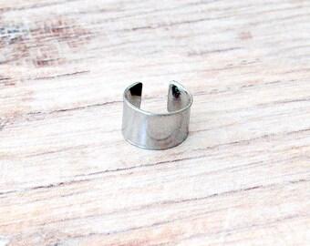 Minimalist Silver Ear Cuff - Steel Ear Cuff - Silver Ear Cuff - Boho Ear Cuff - Nonpierced Ear Cuff - Minimalist Ear Cuff - Shiny Steel Cuff