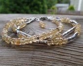 Triple Strand Natural Unheated Soft Citrine and Fine Silver with Sterling Silver Birthstone Gemstone Bracelet