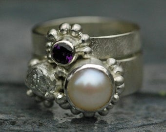 Freshwater Pearl, Rough Diamond, and Amethyst Sterling Silver Ring Stack- Custom Made Engagement and Wedding Band Set