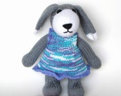 Hand Knit Dog, Ready To Ship, Stuffed Animal Toy, Gray Puppy Dog Nursery, Baby Shower Kids Toy, New Baby Girl Gift, Stuffed Dog Soft Toy 11""