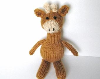 "Knit Animal Baby Toy, Little Hand Knit Giraffe, Ready To Ship, Small Stuffed Animal Newborn Photo Prop Kids Toy Toddler Gift Nursery Toy 9"""