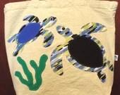 Sea Turtles on reusable, organic cotton tote bag