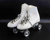 """Vintage """"Official Roller Derby"""" Roller Skates in White / Retro Metal Wheeled Roller Skates"""