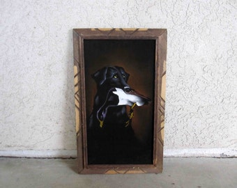 Vintage Velvet Painting of Black Lab with Duck in it's Mouth / Kitsch Velvet Art. Circa 1970's.