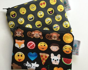 Reusable Machine Washable Zippered BPA-Free Snack-Loc Large Sandwich Small Snack Bag - Trendy Emoji Icon App Face Teen