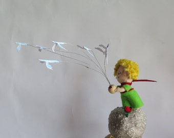 The Birds and the Little Boy - Unique Felt Cake Topper - Hand made.