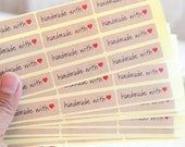 36 Rectangle Kraft Handmade with Love Stickers - FREE SHIPPING with other purchase - Kraft seals