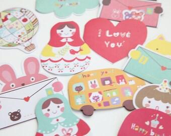 Mini Greeting Cards Kawaii, Cute Greeting Cards, Set of 10