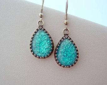 Blue Aqua Fire Opal Vintage Glass Cabochon Crown  Earrings