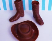 """Cowboy Hat and Boots Miniature Cake Toppers Plastic , Hat is 2.75"""" x 2.25"""" New Old Stock"""