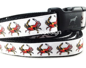Dog Collar and Leash, Maryland Crab, 6ft leash, 1 inch wide, adjustable, quick release, metal buckle, chain, martingale, hybrid, nylon