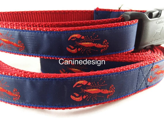 Dog Collar and Leash, Lobster, Maine, 6ft leash, 1 inch wide, adjustable, quick release, metal buckle, chain, martingale, hybrid, nylon