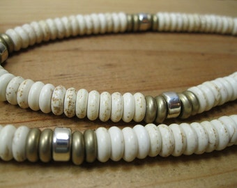 White Turquoise Heishi, Sterling Silver, Brass Necklace, Native American Necklace, Mens Ethnic Necklace, Mens Tribal Necklace