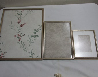 Metal Picture Frames Retro Set of 3 with Glass and Backings