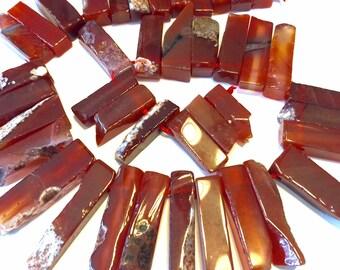 Carnelian flat organic top drilled sticks or pendants