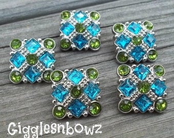 Sale Rhinestone Buttons- 5pc Turquoise/Lime Green Rhinestone Buttons- 21mm Headband Supplies-Diy Supplies- Sewing Button- Diy Baby Headband