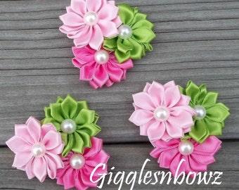 "Satin Ribbon Flowers- Pink, Hot Pink, Lime Green Pinwheel Flower Cluster- Headband Flowers- Diy Supplies- Fabric Flowers- Petite 2"" Flowers"