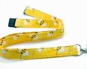 Bee Lanyard  ID Badge Fabric Lanyard  Breakaway Lanyard Yellow Lanyard with Black & Yellows Bumble Bees  Cotton Teacher Lanyard