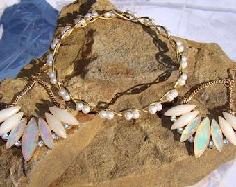 Faux Opal & Rhinestone Resin Pierced Earrings - Stunning Set - Shimmering Sparkling and Eyecatching  - Plus a Bonus