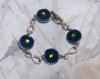 Vintage Liz Claiborne Bracelet LC Demin and Bead Toggle Designer Bracelet PLUS a BONUS