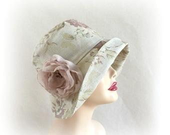 1920s Cloche Hat -Flapper Cloche  - Linen Cloche Hat - Floral Cloche Hat-  Summer Cloche - Chemo Hat - Womens Sunhats - Downton Cloche Hat