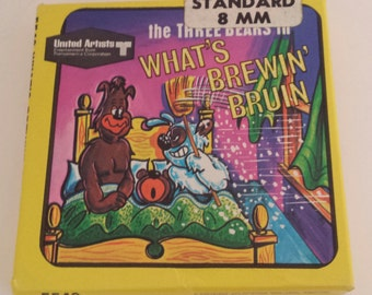 """Vintage Standard 8mm Kids Cartoon Movie """"The Three Bears in What's Brewin' Bruin"""" UA Ken Films #5542/Silent Retro Litho & Film Collectible"""