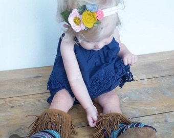 Pink mustard and gray flower crown headband