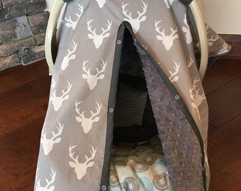Mod Baby Car seat Covers - Organic Cotton - Deer Buck in Gray - Cream with gray minky - shower gift - antler - hunting