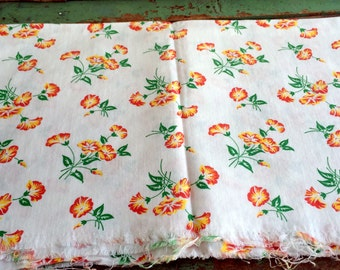 Vintage Feedsack fabric White with Yellow and orange Lily Flowers 43x36