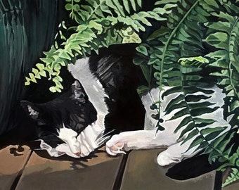 """5 x 7 cat Greeting Card """"Dog days of summer"""""""